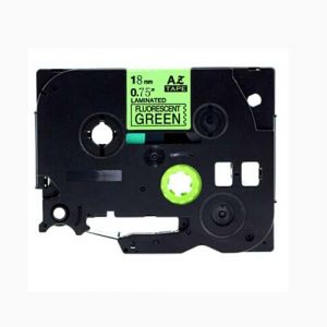 Brother TZe-D41 P-Touch Label Tape, 18mm (0.75 Inch), Length of 8M Black on Fluorescent Green, Compatible