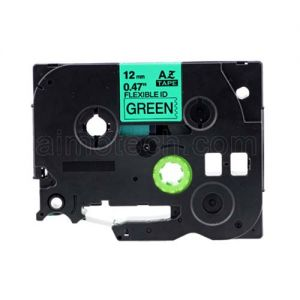Brother TZe-FX731 12mm (0.5 Inch), Length of 8M, Black on Green Flexible Compatible Label Tape